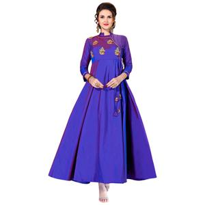 Demanding Violet Colored Partywear Embroidered Art Silk Gown