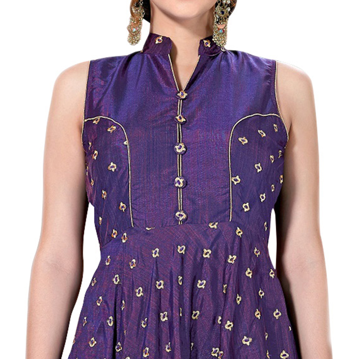 Perfect Purple Colored Partywear Embroidered Art Silk Gown