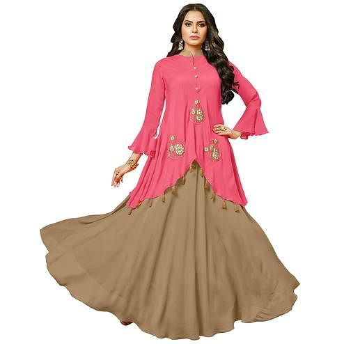 Charming Pink-Light Brown Colored Partywear Embroidered Pure Muslin Silk And Satin Silk Gown
