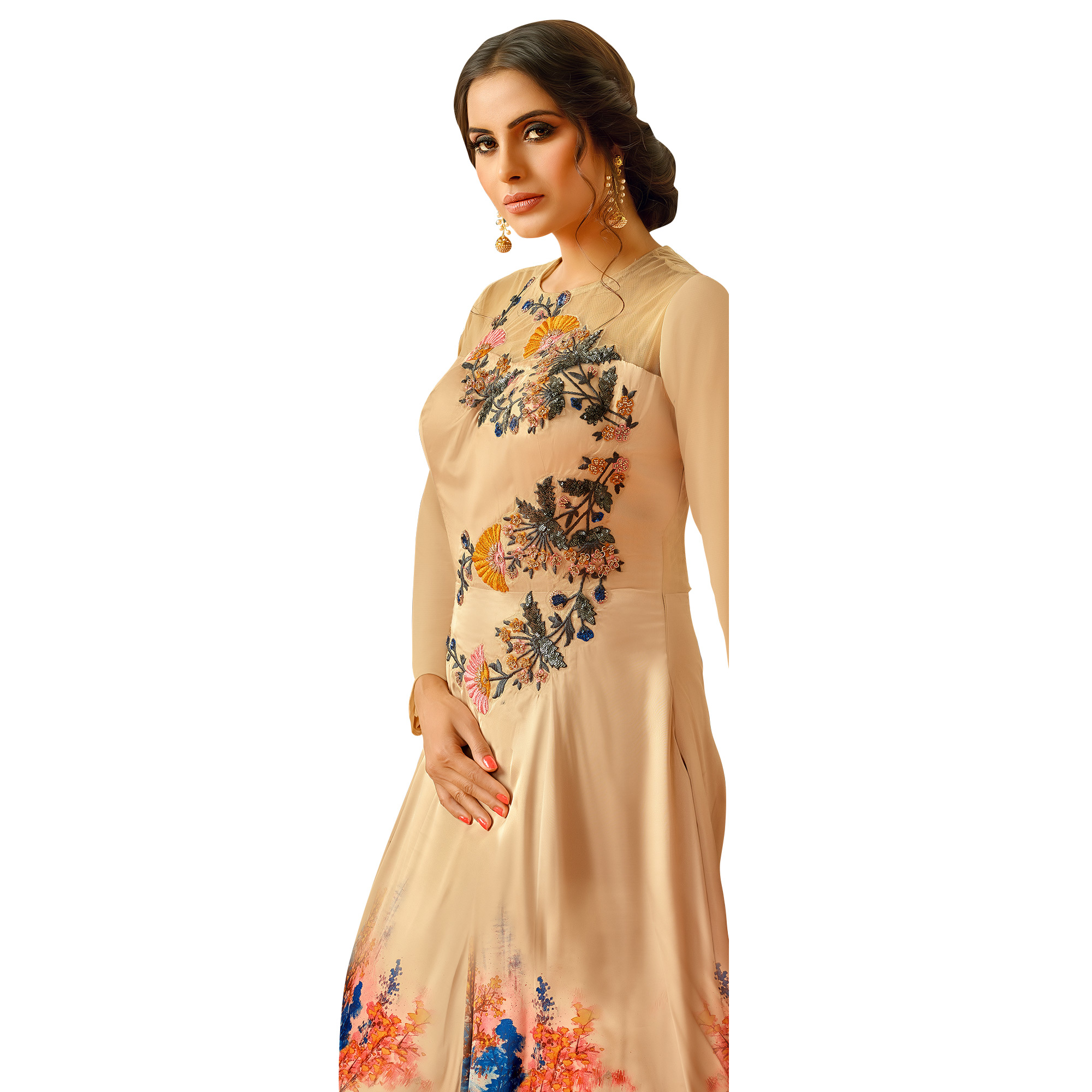 Arresting Beige Colored Partywear Embroidered Pure Muslin Silk And Satin Silk Gown