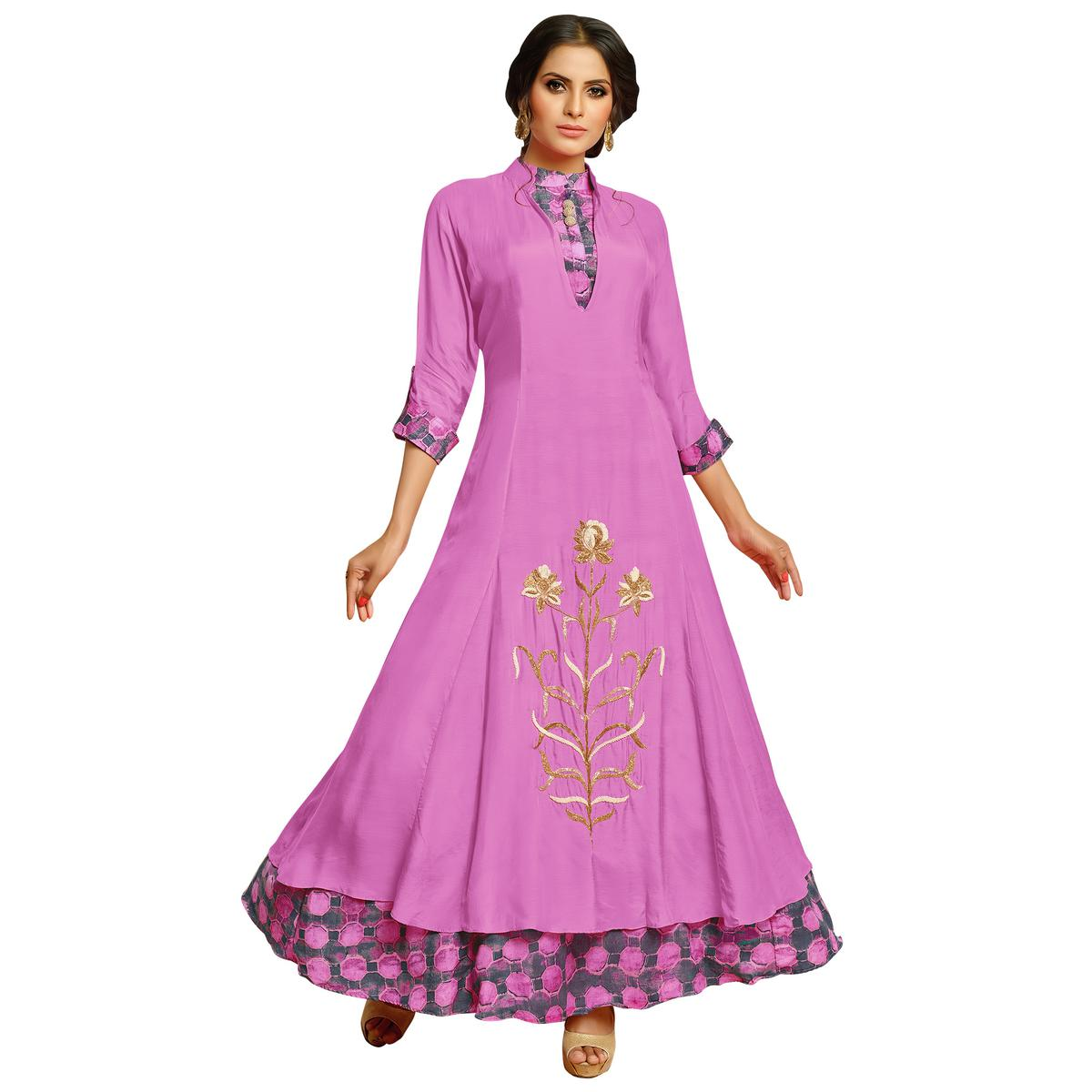Adorning Pink Colored Partywear Embroidered Pure Muslin Silk And Satin Silk Gown