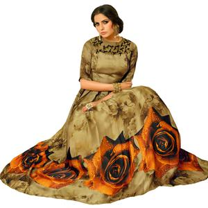 Exceptional Olive Green Colored Partywear Embroidered Pure Muslin Silk And Satin Silk Gown