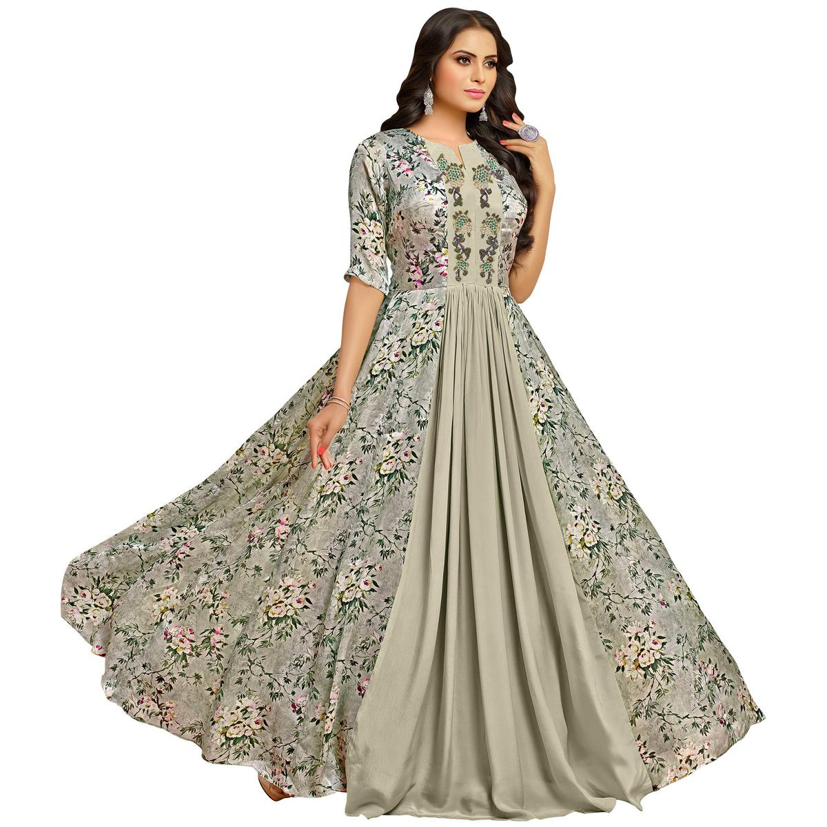 Silk Gowns For Women: Buy Arresting Gray Colored Partywear Embroidered Pure