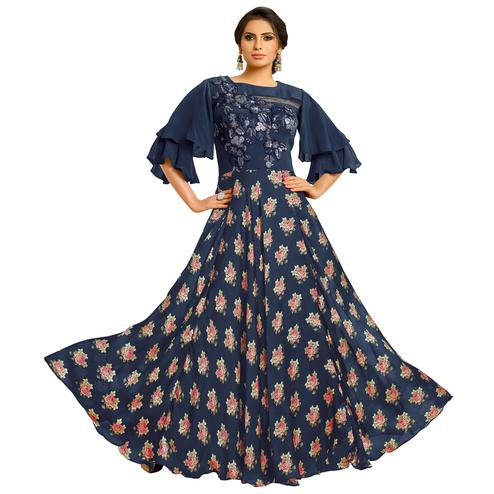 Hypnotic Navy Blue Colored Partywear Embroidered Pure Muslin Silk And Satin Silk Gown