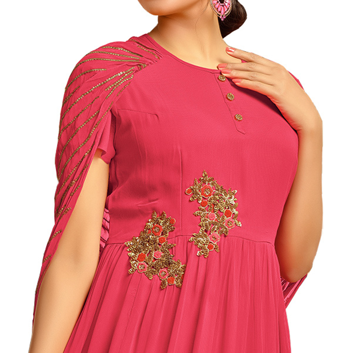 Impressive Pink Colored Partywear Embroidered Pure Muslin Silk And Satin Silk Gown