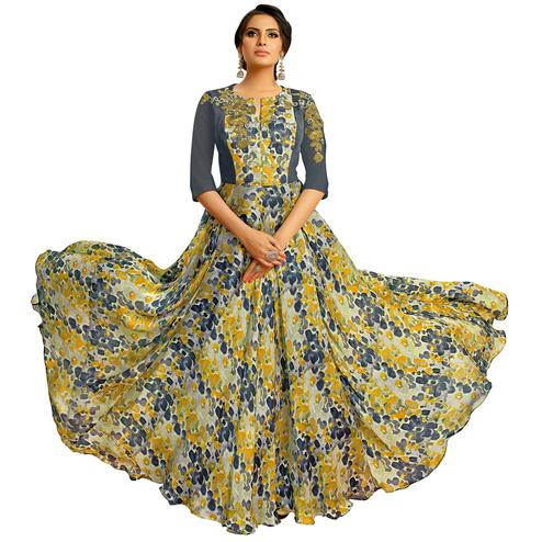 Stylish Multi Colored Partywear Embroidered Pure Muslin Silk And Satin Silk Gown
