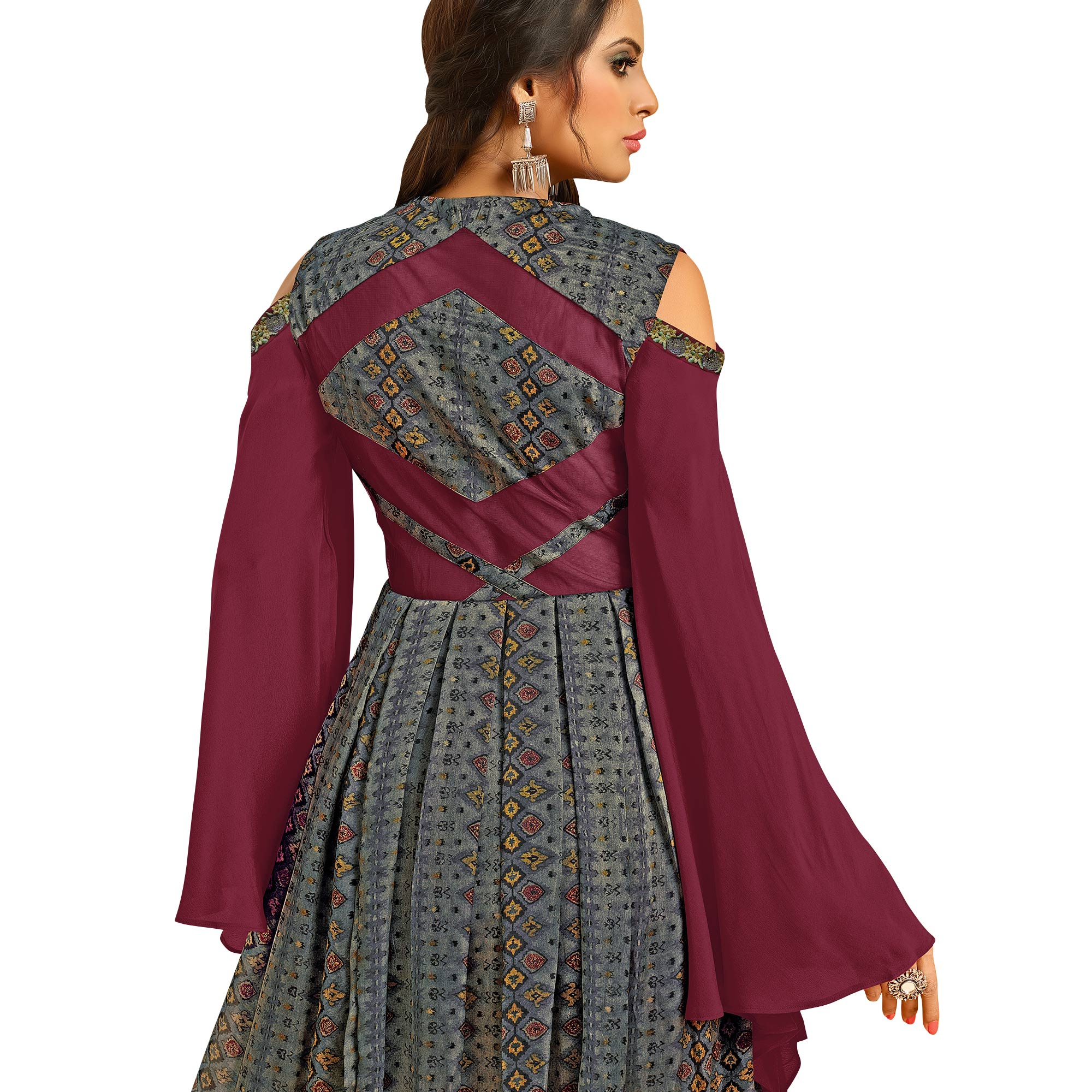 Unique Dark Gray-Wine Colored Partywear Embroidered Pure Muslin Silk And Satin Silk Gown