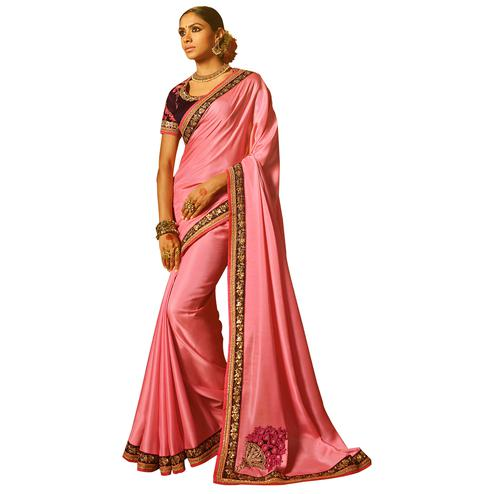 Precious Pink Colored Party Wear Embroidered Satin Saree