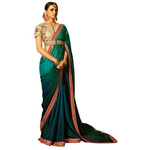 Refreshing Sea-Green Colored Party Wear Embroidered Silk Saree