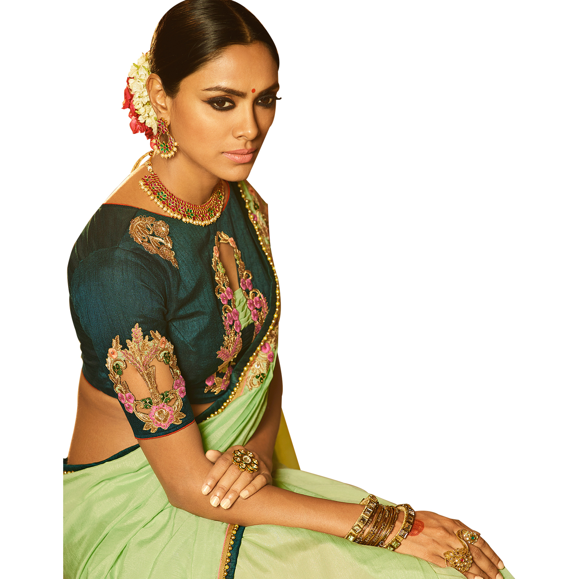 Lovely Light Green Colored Party Wear Embroidered Silk Saree