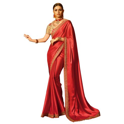 Ravishing Red Colored Party Wear Embroidered Silk Saree