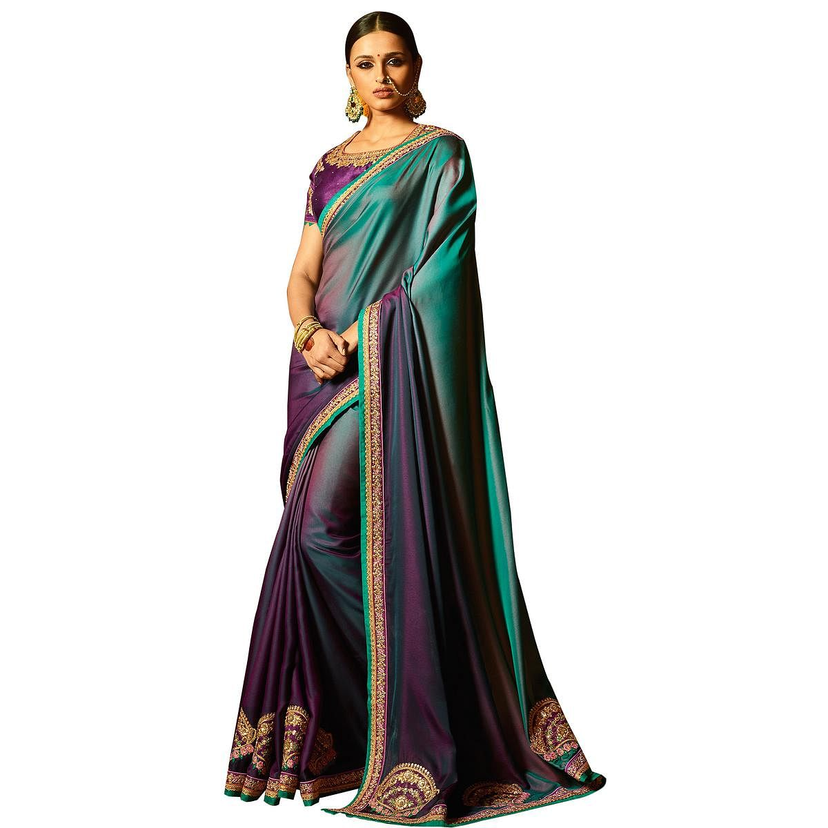 Pretty Purple Colored Party Wear Embroidered Silk Saree