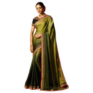 Adorning Olive Green Colored Party Wear Embroidered Silk Saree
