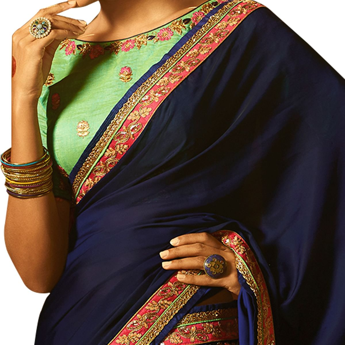 Glorious Navy Blue Colored Party Wear Embroidered Silk Saree