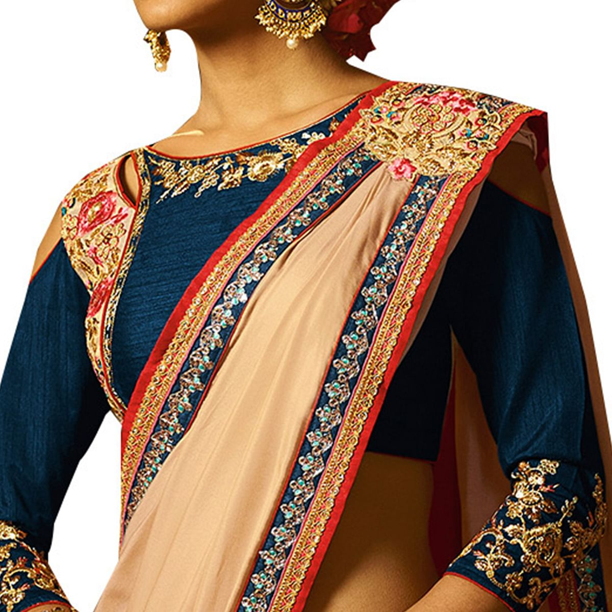 Classic Cream Colored Party Wear Embroidered Silk Saree