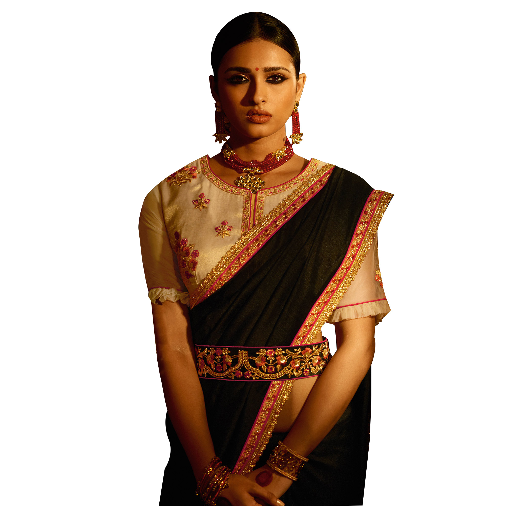 Stylish Black Colored Party Wear Embroidered Silk Saree