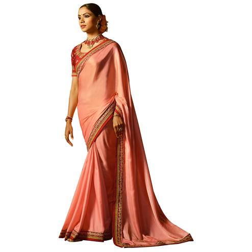 Charming Pink Colored Party Wear Embroidered Silk Saree