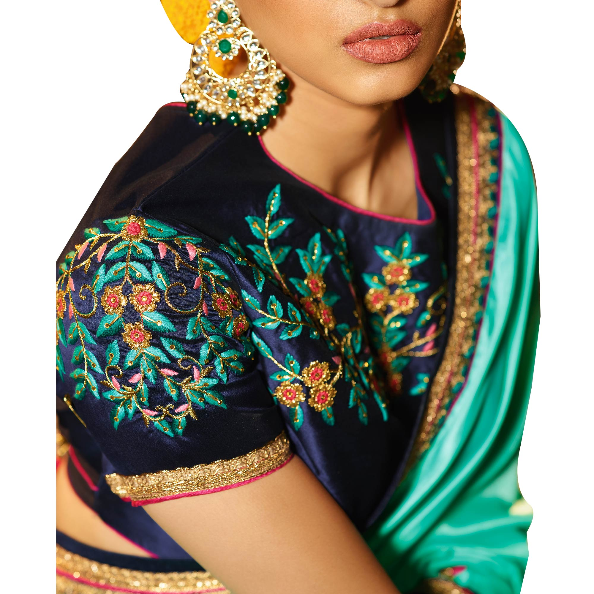 Tempting Turquoise Colored Party Wear Embroidered Silk Saree