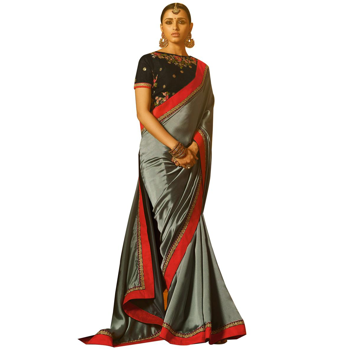 Graceful Grey Colored Party Wear Embroidered Silk Saree