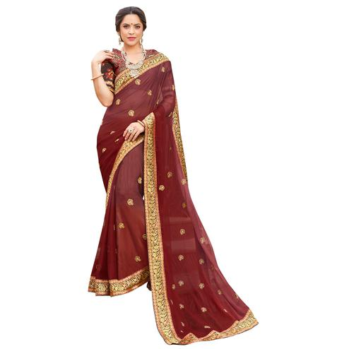 Lovely Maroon Colored Party Wear Embroidered Georgette Saree
