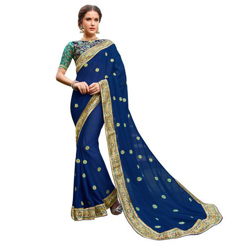 Elegant Navy-Blue Colored Party Wear Embroidered Georgette Saree