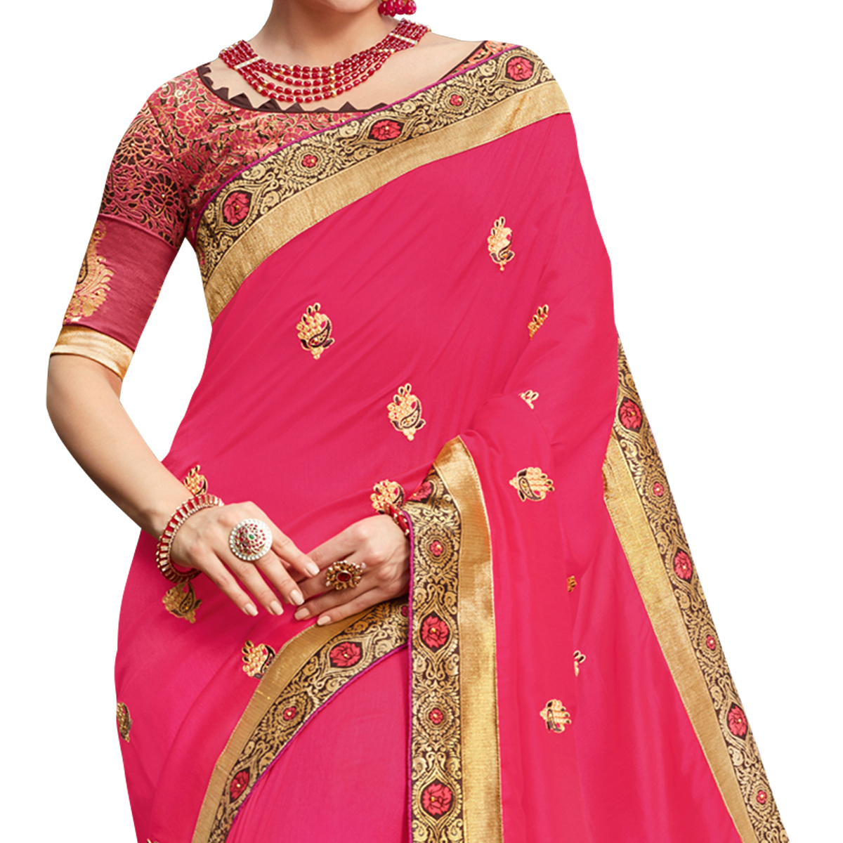 Charming Pink Colored Party Wear Embroidered Georgette Saree