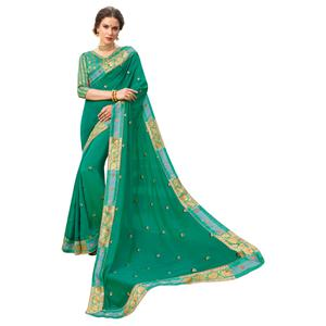 Classy Green Colored Party Wear Embroidered Georgette Saree