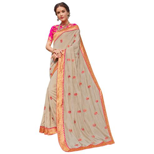 Glamorous Grey Colored Party Wear Embroidered Georgette Saree