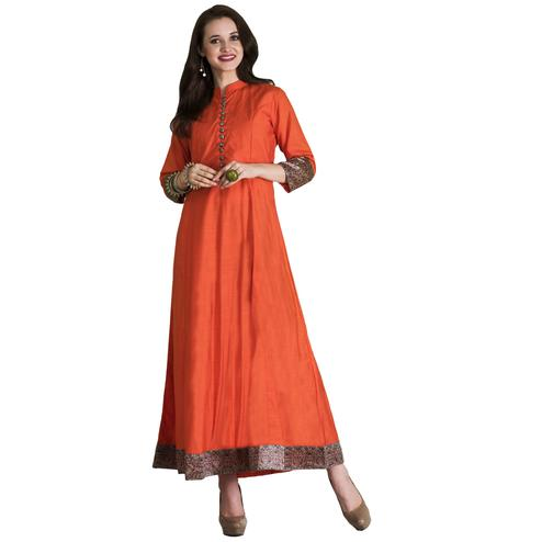 Stylish Orange Colored Casual Wear Printed Cotton Long Kurti