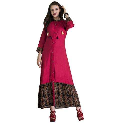 Pretty Pink Colored Casual Wear Printed Cotton Long Kurti