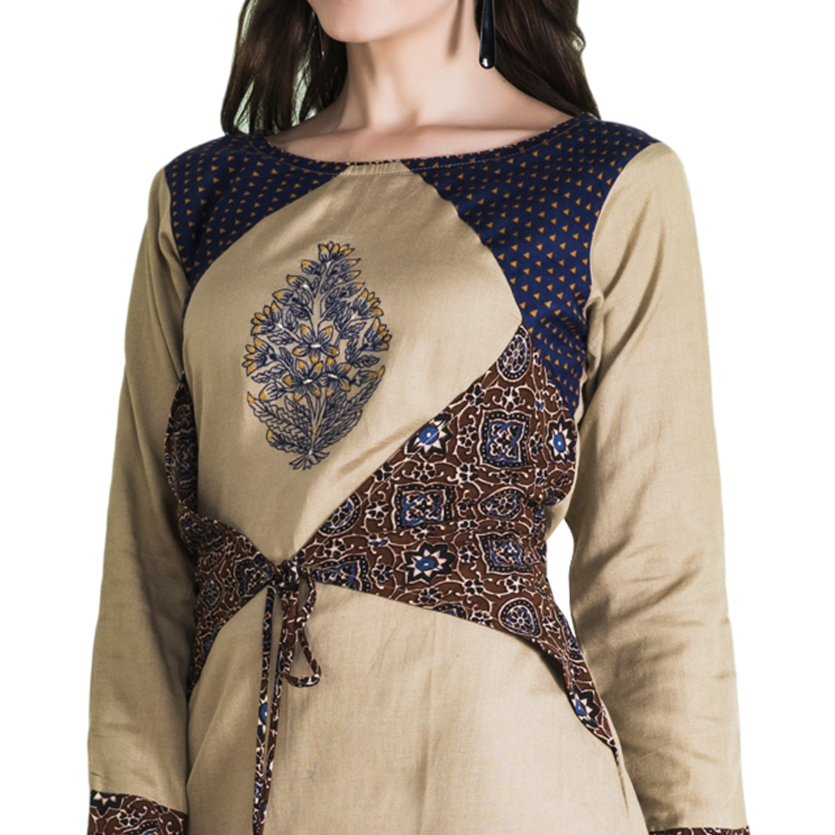 Classy Cream Colored Casual Wear Printed Cotton Long Kurti