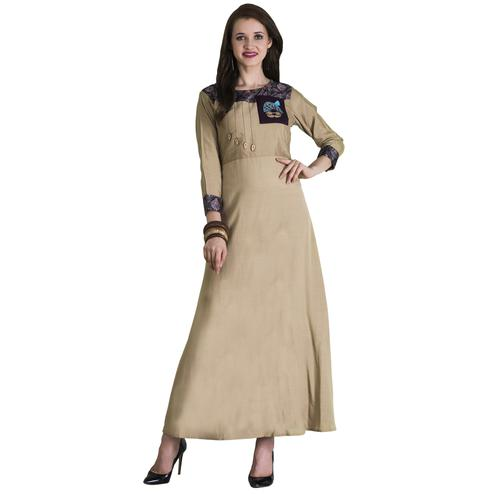Charming Cream Colored Casual Wear Printed Cotton Long Kurti