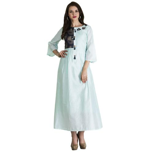 Blissful Sky-Blue Colored Casual Wear Printed Cotton Long Kurti