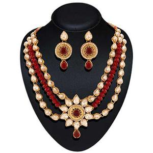 18K yellow gold Plated stone rajwadi necklace sets