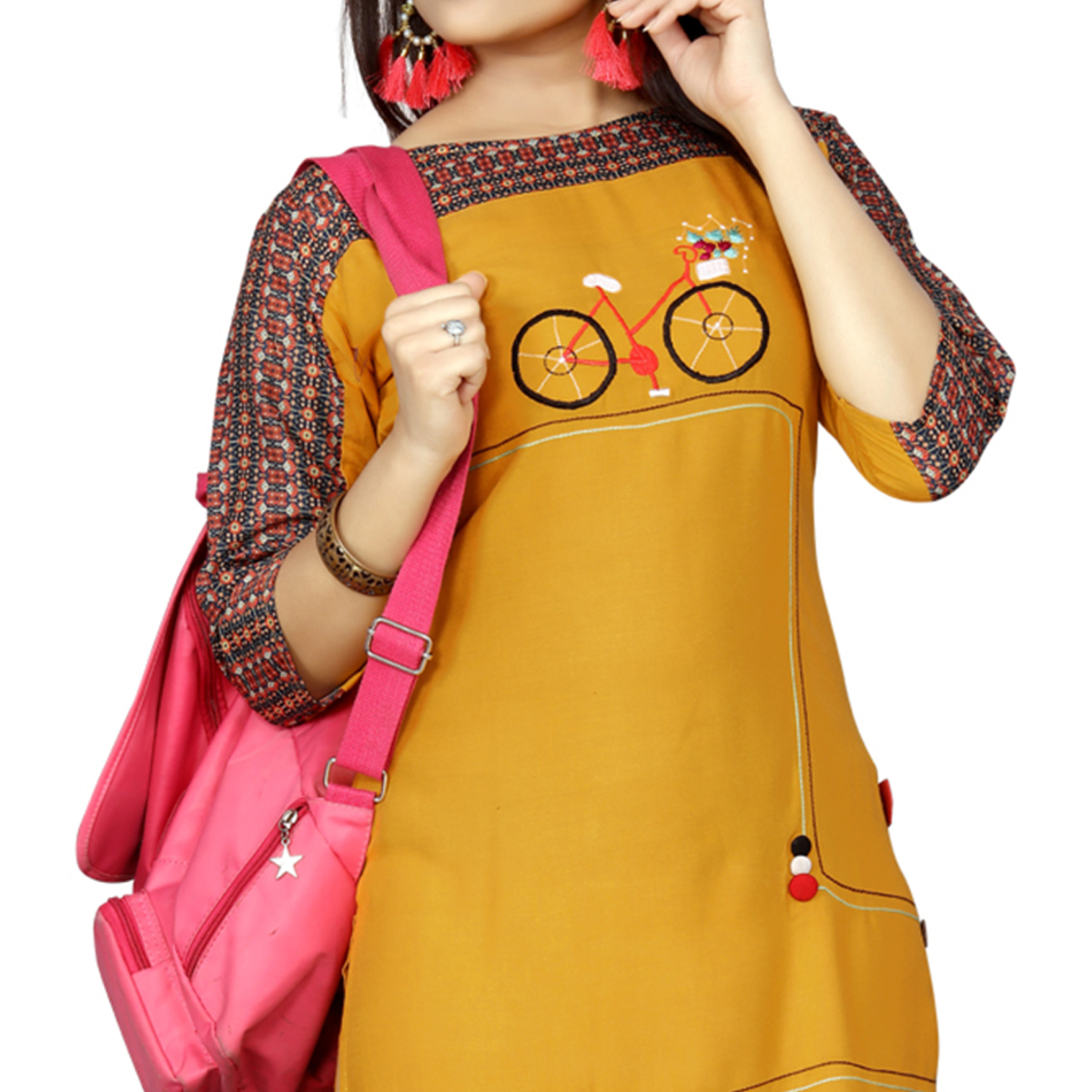 Glowing Yellow Colored Casual Wear Printed Rayon Long Kurti