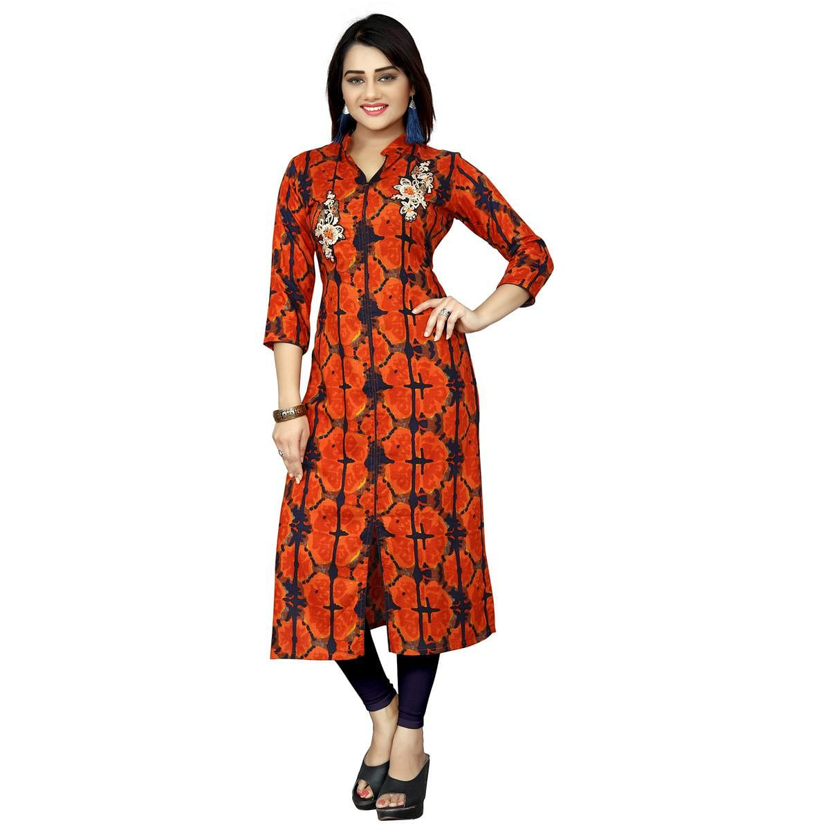 Lovely Orange Colored Casual Wear Printed Rayon Long Kurti
