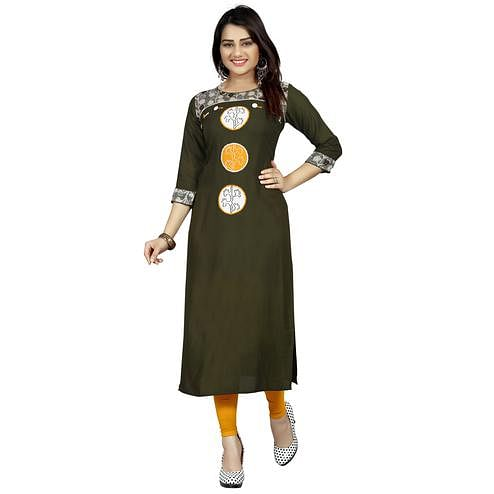 Adorning Olive Green Colored Casual Wear Printed Rayon Long Kurti