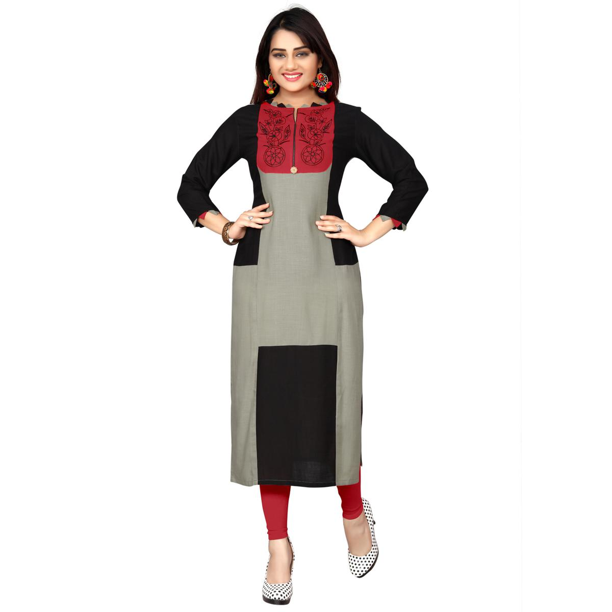 Graceful Grey Colored Casual Wear Printed Rayon Long Kurti