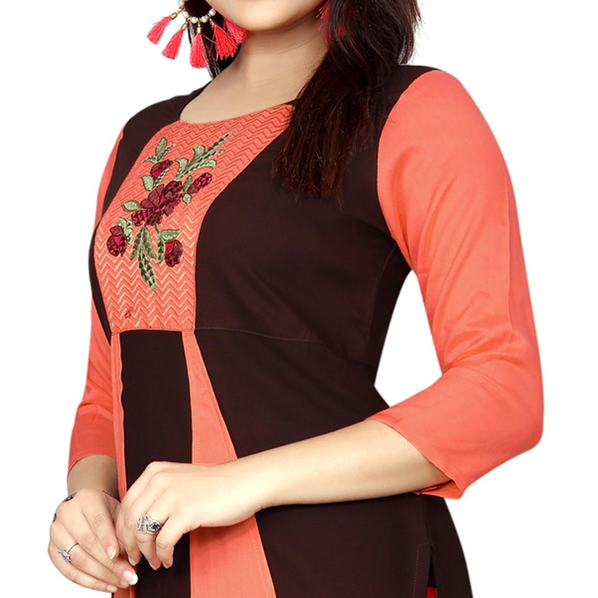 Charming Brown-Peach Colored Casual Wear Printed Rayon Long Kurti