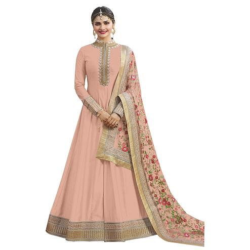 Charming Peach Colored Partywear Embroidered Abaya Style Satin Anarkali Suit