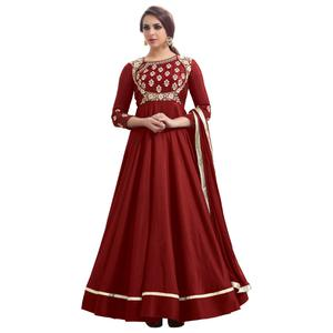 Arresting Red Colored Partywear Embroidered Tapeta Silk Gown