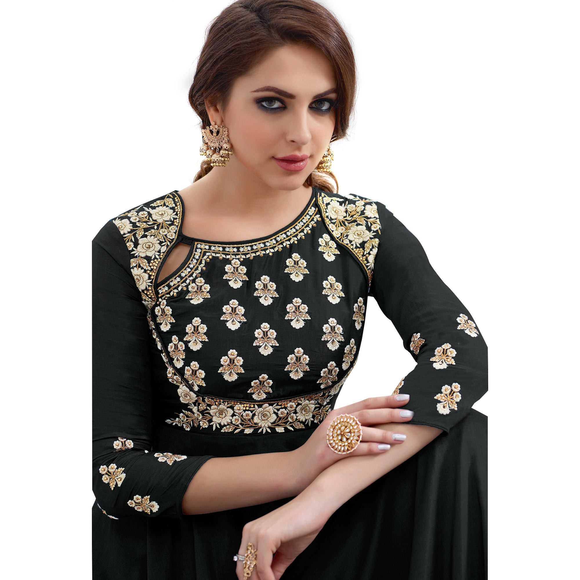 Desiring Black Colored Partywear Embroidered Tapeta Silk Gown
