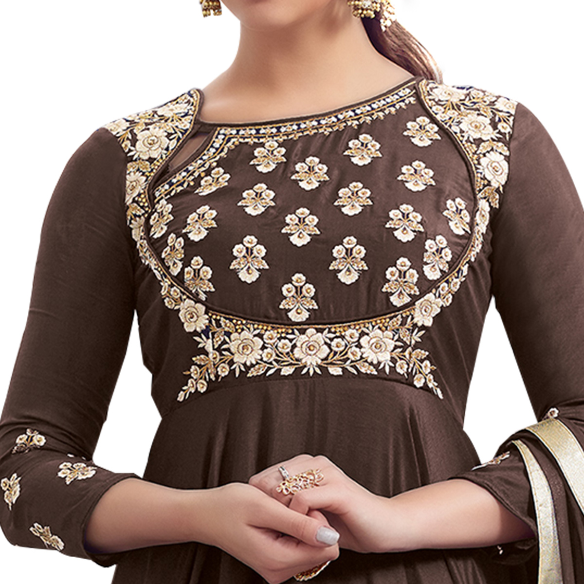 Trendy Brown Colored Partywear Embroidered Tapeta Silk Gown