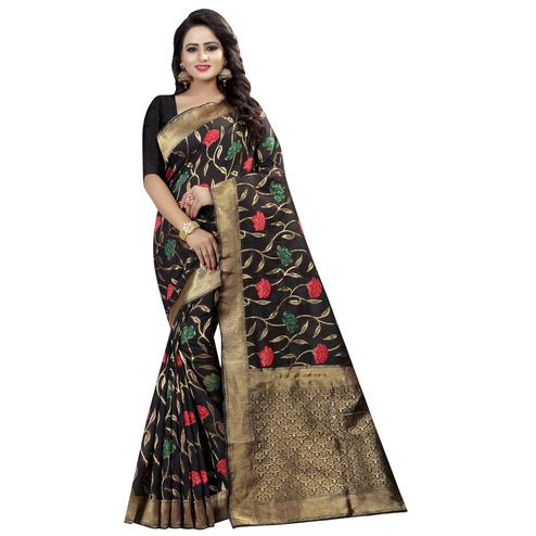 Adorning Black Colored Festive Wear Linen Jacquard Saree