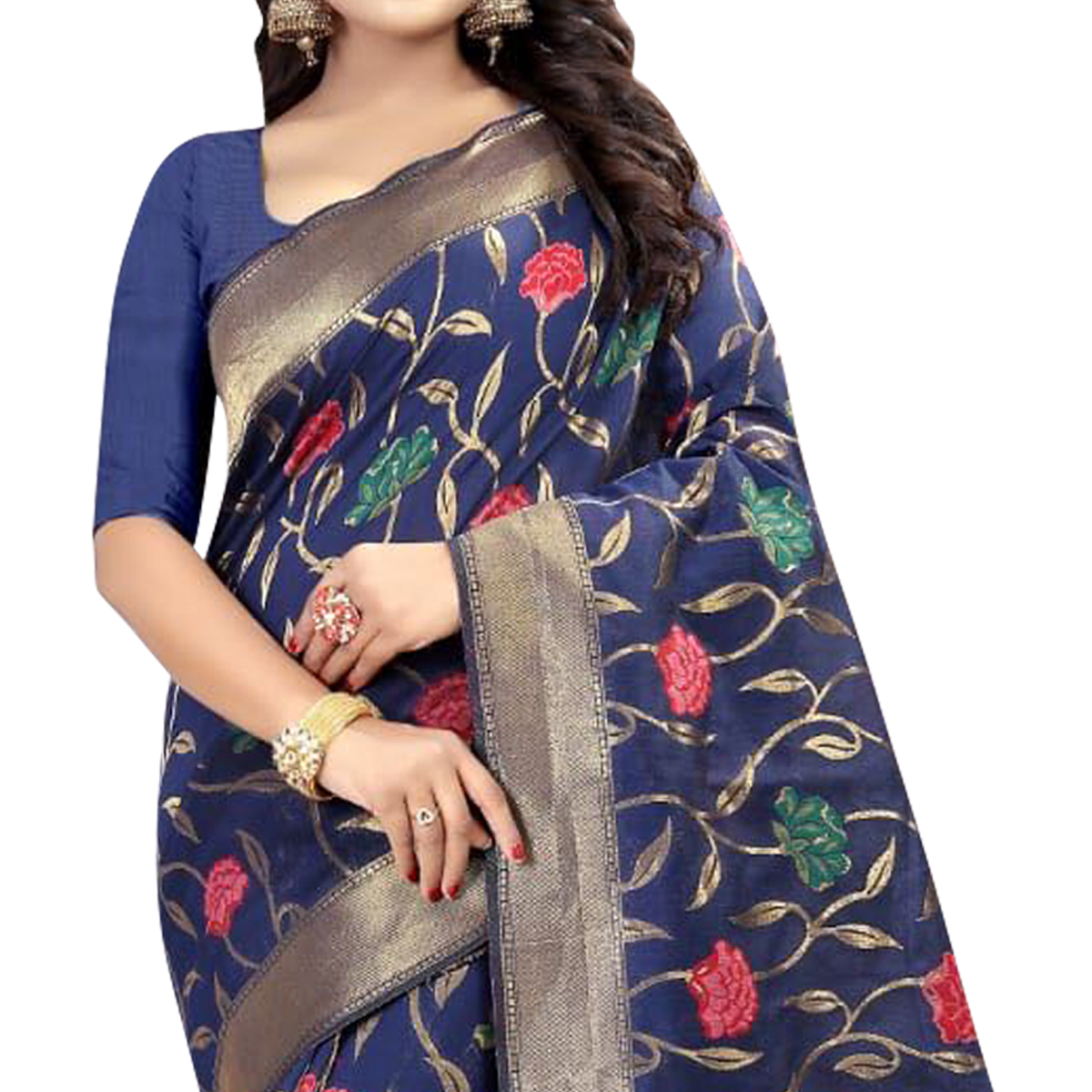 Beautiful Blue Colored Festive Wear Linen Jacquard Saree
