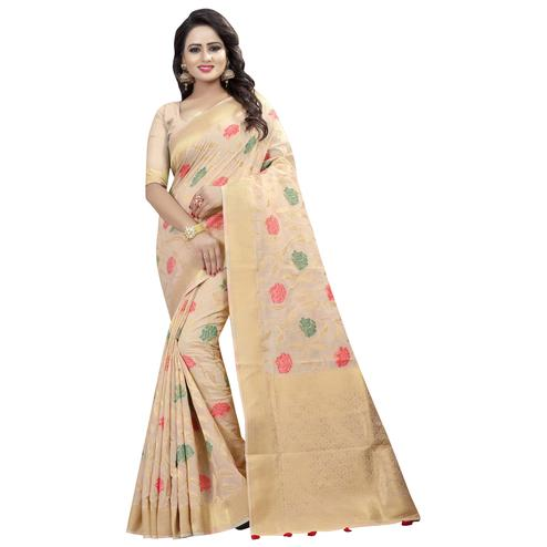 Pleasant Beige Colored Festive Wear Linen Jacquard Saree