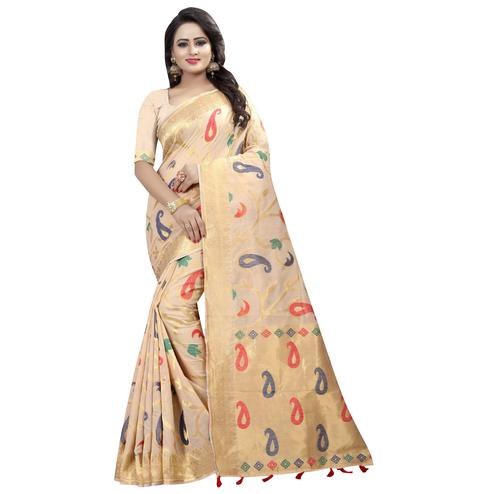Attractive Beige Colored Festive Wear Linen Jacquard Saree