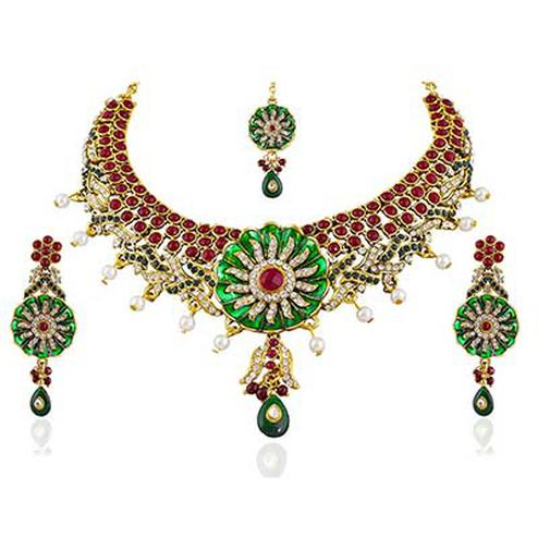 Exclusive Design Meenakari Maroon Pearl Necklace Set with Maang Tikka