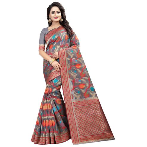 Trendy Gray Colored Festive Wear Linen Jacquard Saree