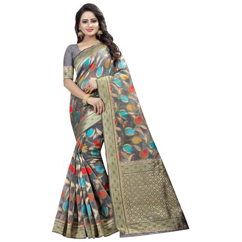 Impressive Gray Colored Festive Wear Linen Jacquard Saree